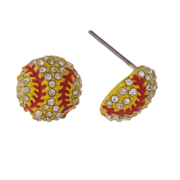 "Softball stud earrings with rhinestones. Approximately 1/2"" in length."