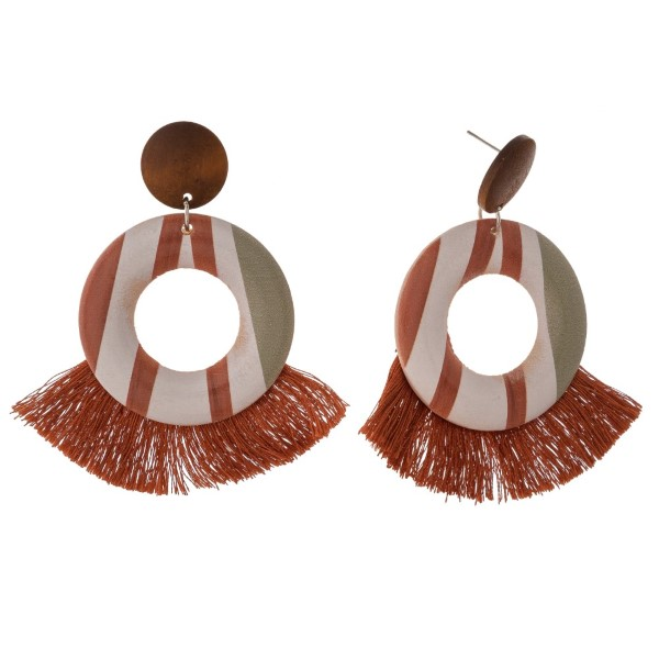 """Wooden post earring with fanned tassel design. Approximately 3"""" in length."""