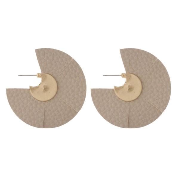 "Gold tone faux leather fan earring. Approximately 2"" in length."