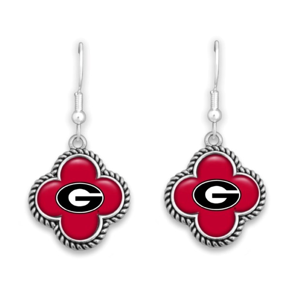 """Officially licensed, silver tone fishhook earring with clover shape and university logo. Approximately 1"""" in length."""