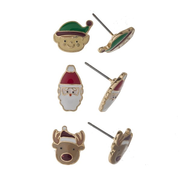Three-pair stud Christmas earrings with elf, Santa, and Rudolph details. Approximately 1cm in length.