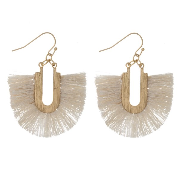 "Gold tone fishhook earring with fanned tassel. Approximately 1.5"" in length."