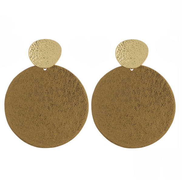 """Large faux leather disc earrings. Approximately 3"""" in length."""