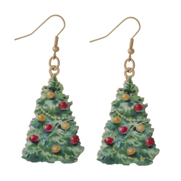 "Fishhook earring with Christmas tree shape. Approximately 1.25"" in length."