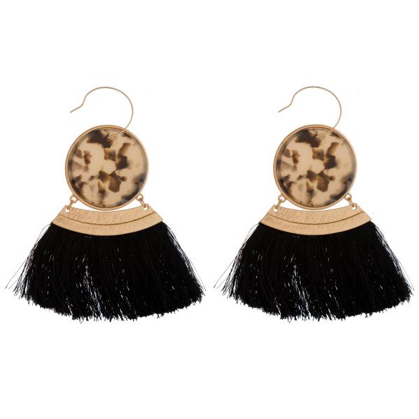 Wholesale gold fishhook earring acetate circle soft thread tassel