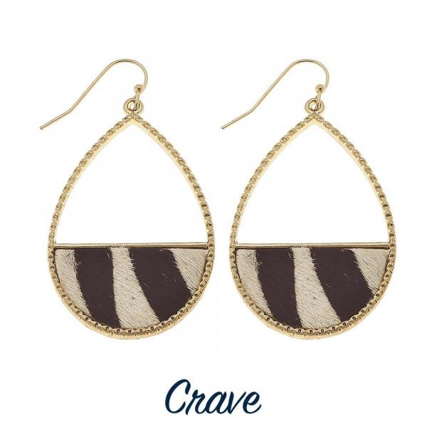 Wholesale long drop earrings zebra print pattern gold trim