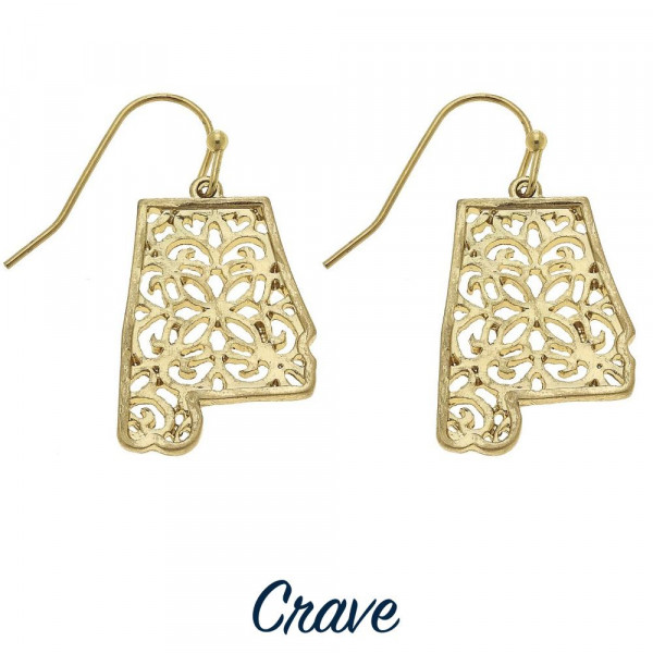 """Delicate filigree Alabama state earrings. Approximately 5/8"""" inches long, depending on state's shape."""