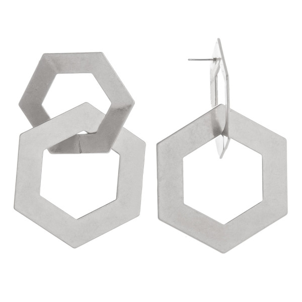 Wholesale long double hoop octagon earrings Approximate