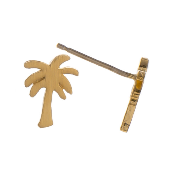 Metal stud earrings with palm tree shape. Approximately 5mm in length.