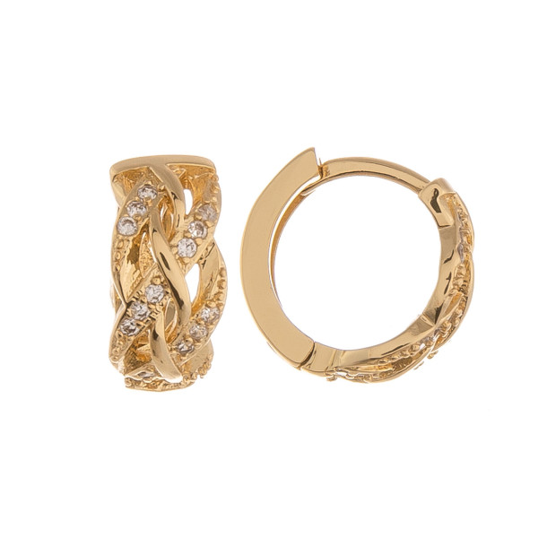 """Gold dipped hoop earrings with rhinestones. Approximate .5"""" in length."""
