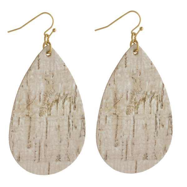 "Cork inspired teardrop earrings. Approximately 3"" in length."
