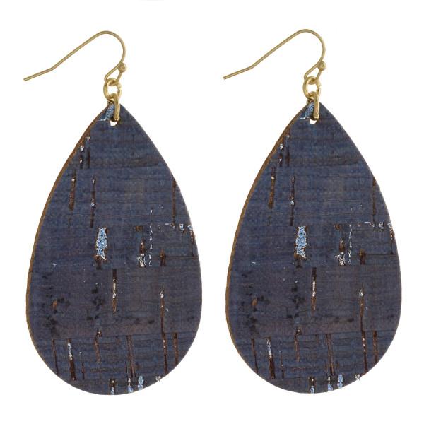 """Cork inspired teardrop earrings. Approximately 3"""" in length."""