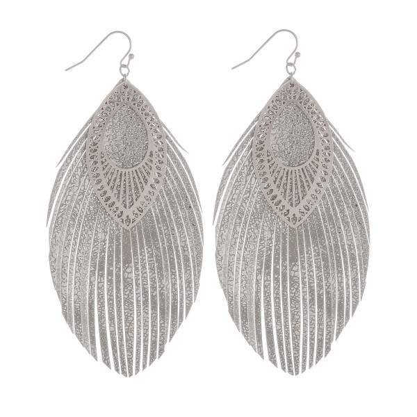 "Long double leather leaf earring with filigree detail. Approximate 4"" in length."