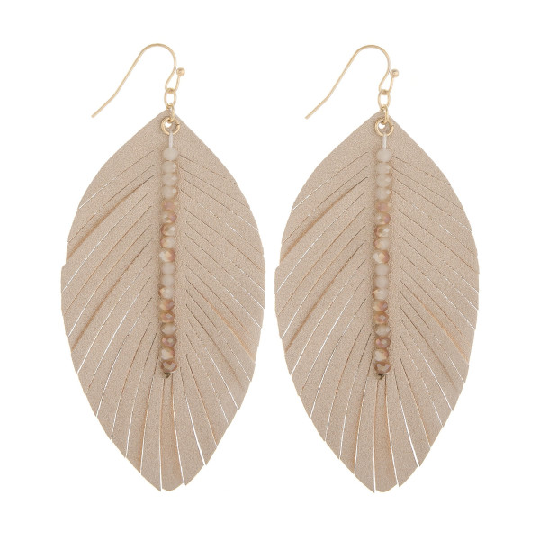 Wholesale long leather leaf earring bead detail Approximate