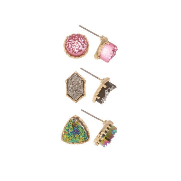Druzy Stone Stud Earring Set.  - 3 Pair Per Set - Approximately 4mm in Diameter