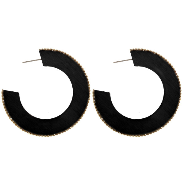 """Wooden open hoop earrings with metal chain link along the outline. Approximately 2"""" in length."""
