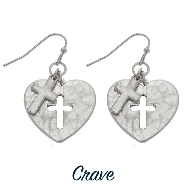 Wholesale heart earrings cross cutout charm tall