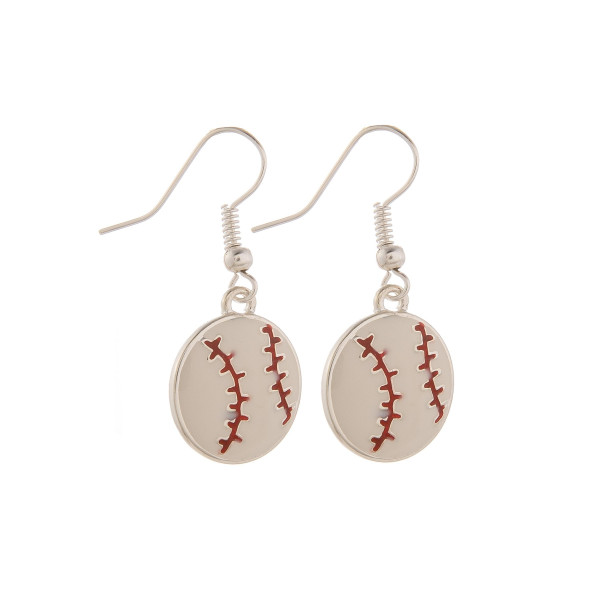 "Short fishhook baseball earrings. Approximate 1"" in length."