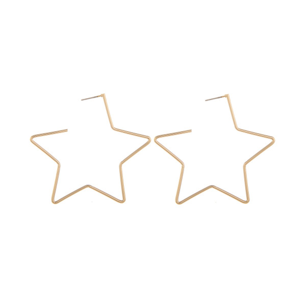 "Long metal star hoops. Approximate 2"" in length."