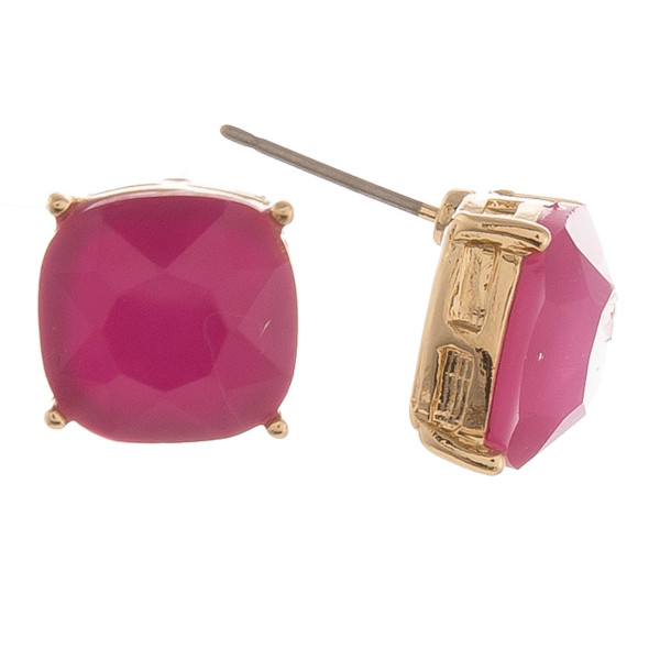Semi Precious Stone Stud Earrings.  - Approximately 11mm in Size