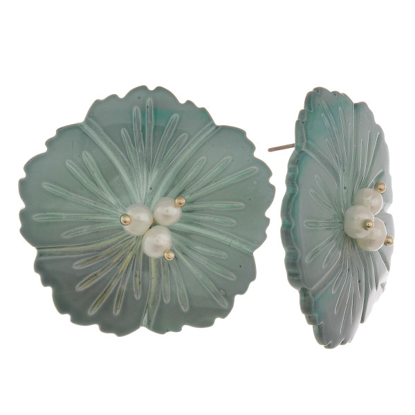 """Short stud natural stone flower earring with pearl detail. Approximate 1.5"""" in length."""