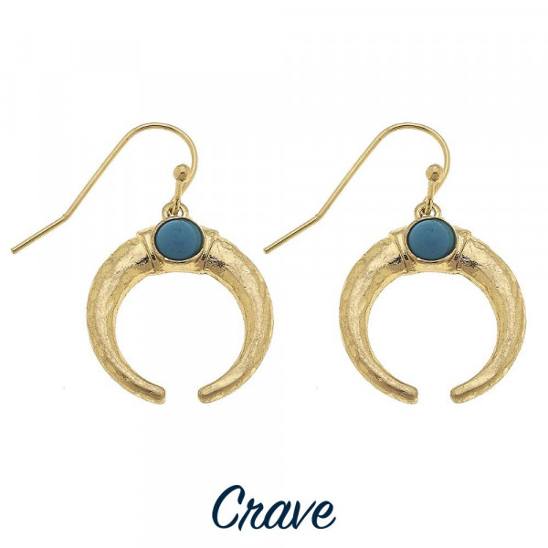 """Long horn earring with natural stone detail. Approximate 1"""" in length."""