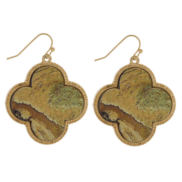 """Long wooden earring with metal trim and natural stone print. Approximately 1.5"""" in length."""