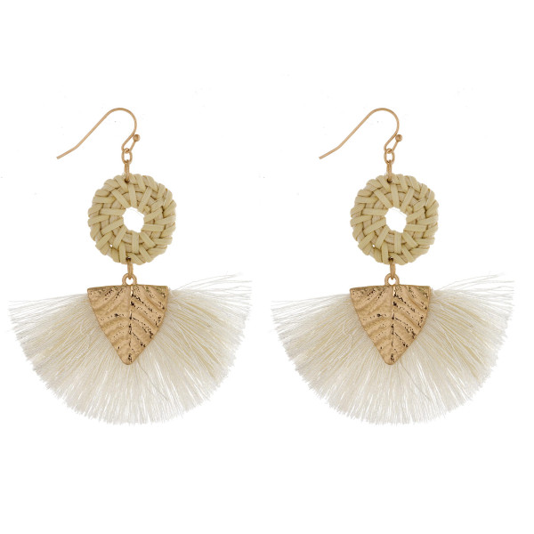 Wholesale long fishhook earrings woven raffia tassel details