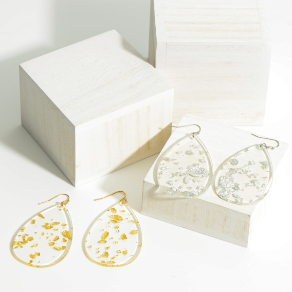 """Long acetate drop earrings with glitter details. Approximate 2.5"""" in length."""