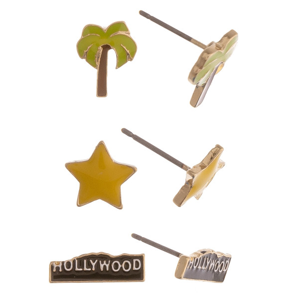Set of 3 pairs of Hollywood themed stud earrings featuring palm trees, stars, and Hollywood signs.