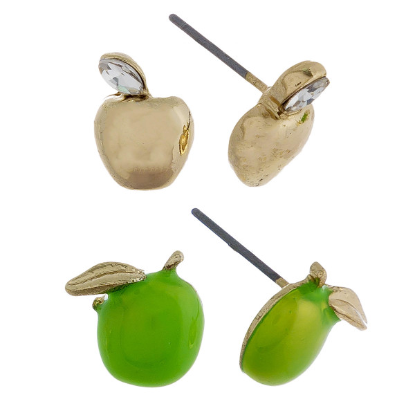 Two-pair stud earrings with apple details. Approximate 1cm in length.