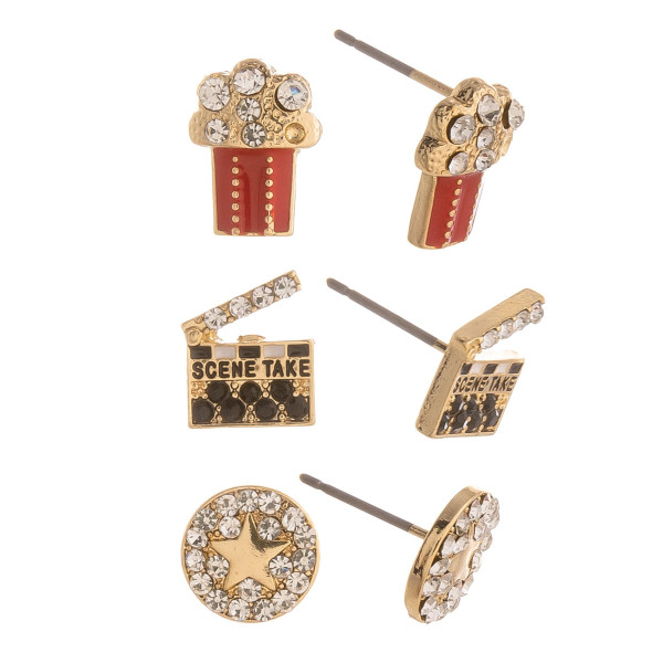Three-pair stud earrings with movie details. Approximate 1cm in length.