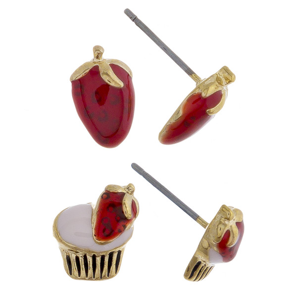 Two-pair stud earrings with fruit and dessert details. Approximate 1cm in length.