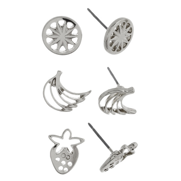 Three-pair stud metal earrings with fruit details. Approximate 1cm in length.