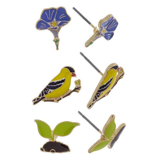 Three-pair stud earrings with flower, bird, and plant detail. Approximate 1cm in length.