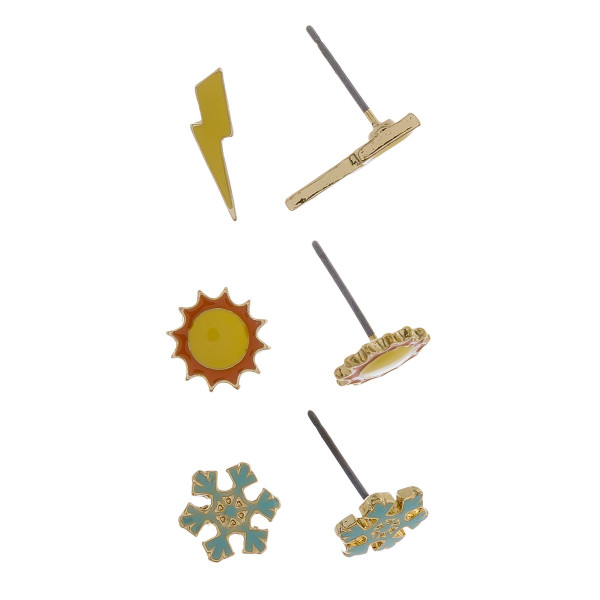 Three-pair stud earrings with lightning, sun, and snowflake details. Approximate 1cm in length.