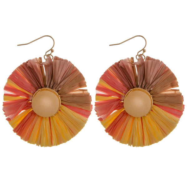 "Multi-colored circular raffia style earrings featuring druzy stone accents. Approximately 2"" in diameter."