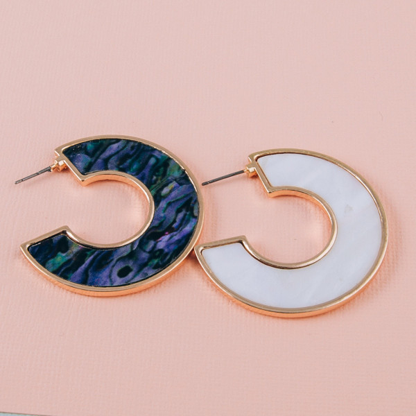 """Large open hoop metal earrings featuring mother of pearl inspired detail. Approximately 1.5"""" in length."""