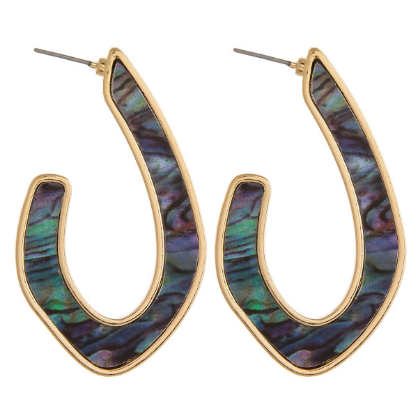 """Long metal earrings featuring abalone inspired detail. Approximately 2"""" in length."""