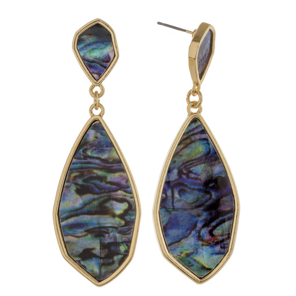 """Abalone drop earrings.   - Approximately 3"""" in length"""