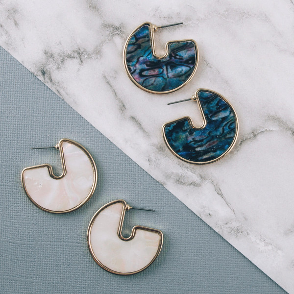 """Short drop earrings featuring abalone inspired mother of pearl. Approximately 1"""" in length."""
