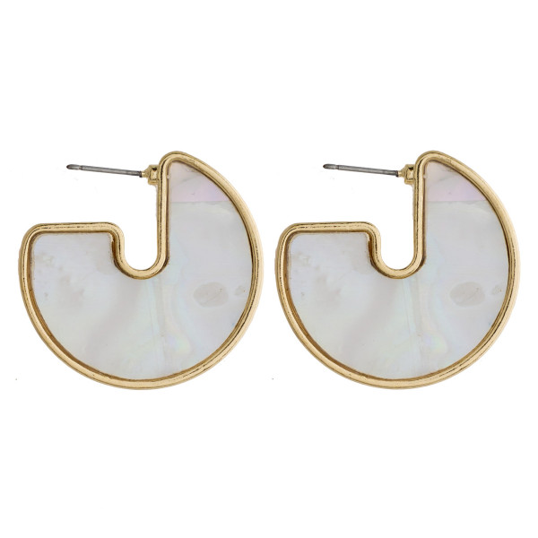 """Short drop earrings featuring mother of pearl. Approximately 1"""" in length."""