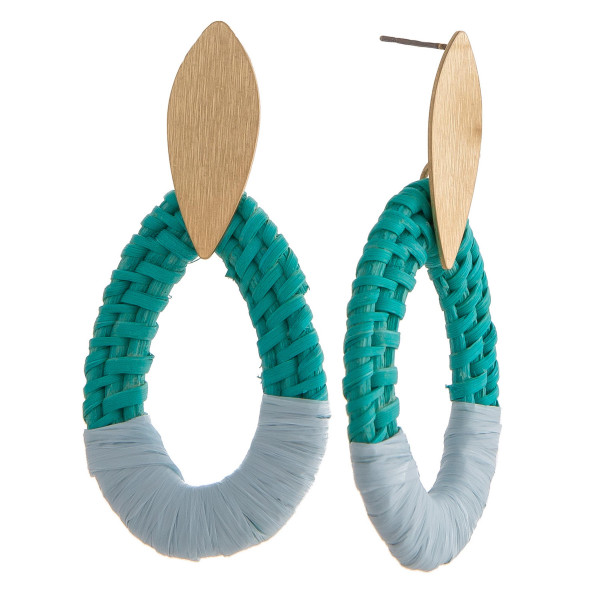"Rattan woven teardrop earrings featuring raffia wrapped details with a gold metal stud post. Approximately 2.5"" in length."