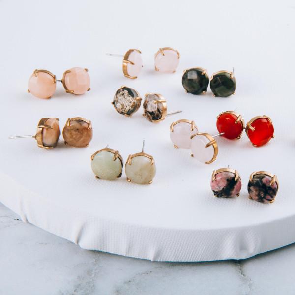 Natural stone inspired stud earrings. Approximately 1 cm in diameter.