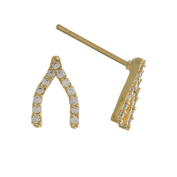 Rhinestone encased wishbone stud earrings. Approximately 1cm in length.
