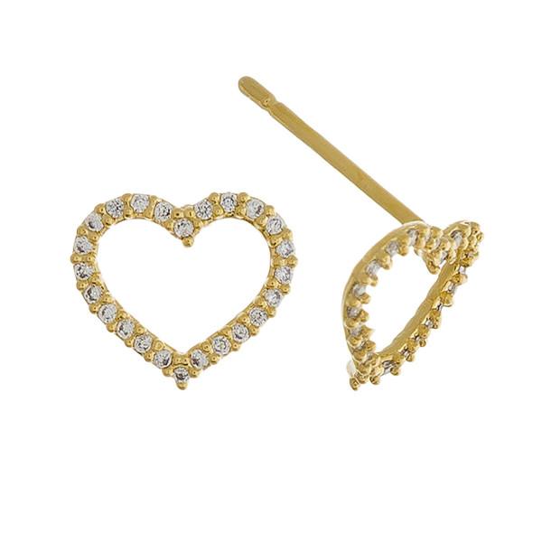 Rhinestone encased heart stud earrings. Approximately 1cm in diameter.