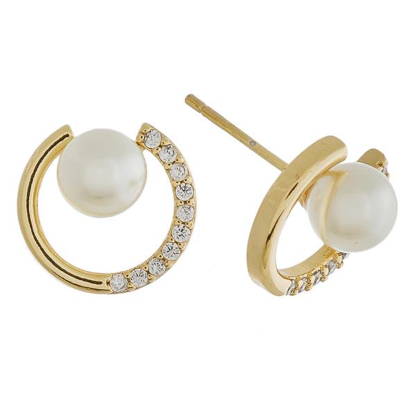 Rhinestone encased pearl nested stud earrings. Approximately 1cm in diameter.