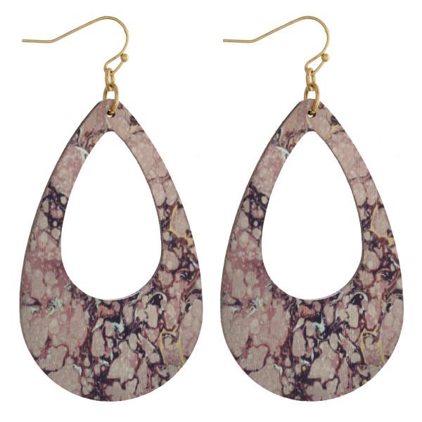 Wholesale wood teardrop earrings fire quartz stone inspired pattern Measure