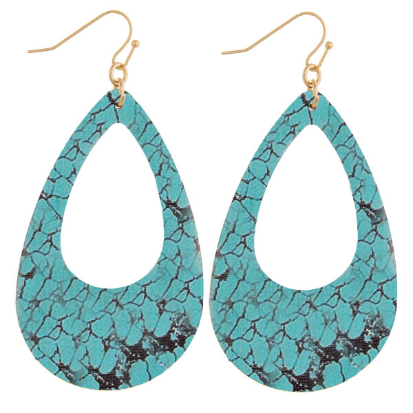 Wholesale wood teardrop earrings turquoise stone inspired pattern Measure