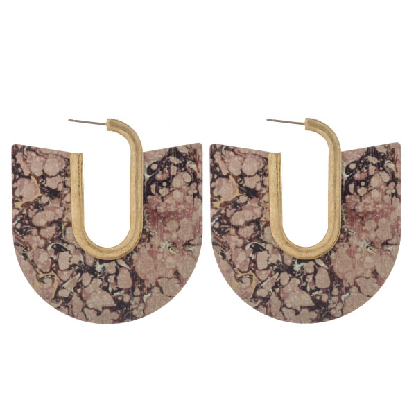 """Open hoop natural stone, wood inspired hoop earrings featuring gold metal accent and stud post. Approximately 2.5"""" in length."""